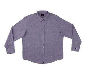 Untuckit Linen Button Down Shirt Mens XL Purple Long Sleeve