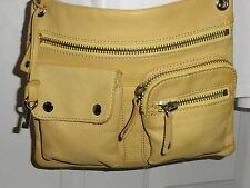 FOSSIL Sutter Pebbled Yellow Leather Messenger Crossbody Handbag with Key Fob