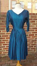 Vintage 1940's-1950's Blue Jacquard Dress