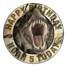 T REX JURASSIC DINOSAUR PERSONALISED ICING EDIBLE CAKE TOPPER IMAGE 19 CMS ROUND