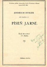 """JINDRICH HYBLER Composer signed score of his song """"Pisen Jarni"""" op. 53"""
