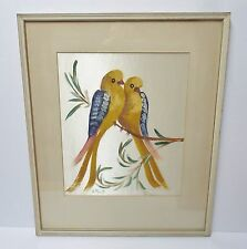 Vintage Framed Signed Birds Oil Painting on Satin Water Colors, Chinese