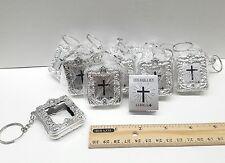 12 Mini Bible Keychain party favors Silver, baptism,communion-español bautizo