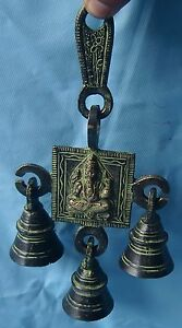 BRASS METAL ENGRAVED HINDU LORD GANESHA WALL HANGING BELL HOME DECOR TEMPLE ITEM