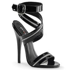 "DEVIOUS DOM119/B Sexy Shoes Strappy Black Zipper 6"" Stilettos High Heels Sandals"