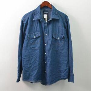 Wrangler Mens 17 1/2X34 XL Riggid Denim Western Pearl Snap Shirt Cowboy Cut