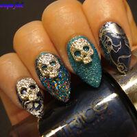5pcs Halloween Theme 3D Nail Art Decoration Skull Mask Design Stud Crafts Charms