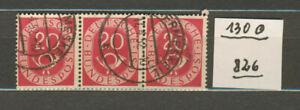 (826) Bund 130 Posthorn 3 er Streifen Gestempelt