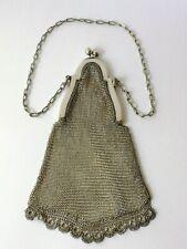 Zierliche, feine antike Netztasche aus Alpacca, Geldbeutel Frankreich um 1915-20