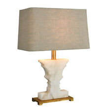 "21"" H Anthropologie Style White Alabaster & Gold Table Lamp Tan Linen Hard Shade"