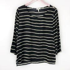 a73892cd5ec8da Joie Rope Print Stripe 100% Silk Blouse Top Black 3 4 Sleeve Nautical Large