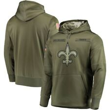 New Orleans Saints Olive Salute to Service Sideline Therma Hoodie 2019 Pullover