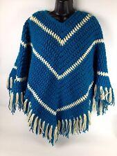 VTG Crochet Poncho Shawl Hippie Granny Afghan Festival Fringe Boho One Size 70s