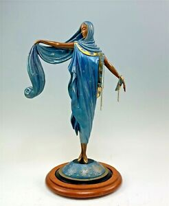 "Erte ""Moonlight"" Bronze Statue on Stand Signed & Numbered Art Deco Statue"