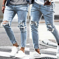 Mens Skinny Jeans Stretch Distressed Ripped Denim Pants Casual Slim Fit Trousers