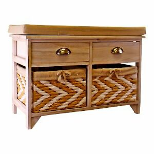 White Wooden Storage Bench With 2 Drawers & 2 Baskets