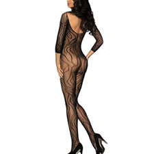 Sexy women fishnet sleeved bodystocking open crotch bodysuit nightwear sleepwear