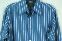 Vintage Men's BRENT Golden Label Collection L Shirt Non-Iron Cotton Poly Blend