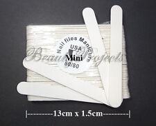 (50pcs) Mini Manicure Nail Files White 80/80 Grit Plastic Center 5in thin file