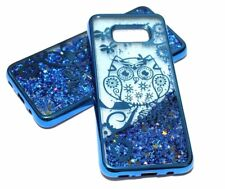 For Samsung Galaxy S8+ PLUS Blue Owl Flowers Glitter Liquid Waterfall Skin Case