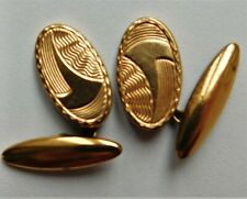 Vintage Art Deco cufflinks Geometric pattern Chain fittings Oval hf