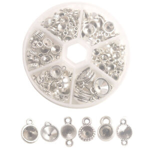 One Box of 135PCS Antiqued Silver Metal Rivoli Setting Links Charms for Jewelry