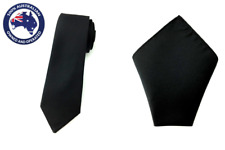 Men's Solid Black 6 CM Skinny Tie & Pocket Square Set Plain Colored Combination