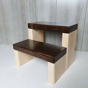 Rustic Pine Toddler Kids Wooden Step stool Brown Stain Baby Gift Christmas
