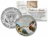 MICHELANGELO * Creation of Adam * SISTINE CHAPEL Colorized JFK Half Dollar Coin