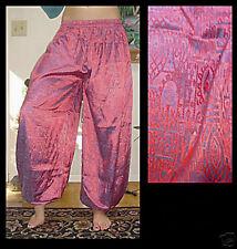 Harem Pants Belly Dance Red w Steel Blue Glow Sparkle