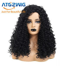 Black Long Synthetic Curly Wigs Kinky Afro Curly Wig African Wigs for Womans New