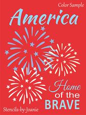 Joanie Stencil America Home of Brave Firework Stars Summer July DIY Craft Signs