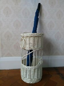 Natural wicker hand woven umbrella stand white stain rustic country brocante