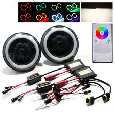 "H6024 7"" Inch Round Black Retrofit REAL Projector RGB Halo Headlights/4300K HID"