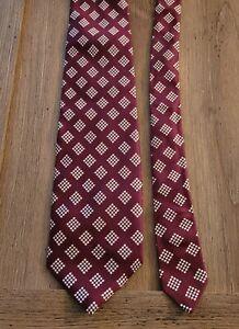 Vintage Neck Tie Pride of England Briar Men's Silk Necktie Red Maroon Pre-owned