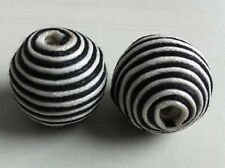 4 big beads fabric woven band black and white 0 25/32in