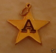 old initial Letters A enamel pendant Charm STAR goldpl