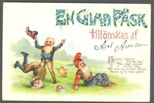 Gnomes, Easter, Gnome Acrobats on The Field, Old Embossed Postcard Pre. 1905