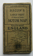 1910 Bacon's Large-Print Motor Map Sheet 8 South-West England - 5 miles to 1 in
