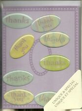 Thank You Note Cards Boxed Set of 8 Purple Lavendar with Oval Green Stickers New