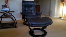 EKORNES STRESSLESS LARGE ROYAL RECLINER & OTTOMAN MADE IN NORWAY