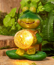 Frog In Meditation Pose w/ Solar Lighted Glass Gazing Ball Garden Statue