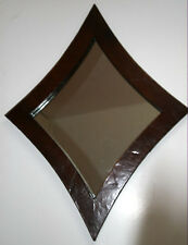 Vintage Designer large Wall Mirror 27.5x36in kite shaped natural leather frame