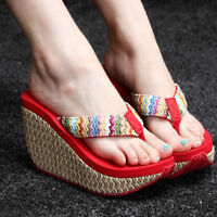 Women's Casual Summer Sandals Slippers Clip Toe Shoes Wedge Platform Fashion