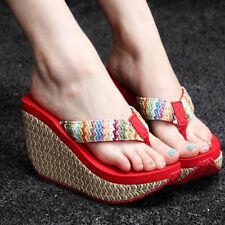 Beach Womens Casual Slippers Wedge Platform Flip Flops Summer Sandals Soft Shoes