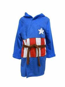 Kids Captain America Bathrobe Marvel Avengers Fleece Dressing Gown Hooded