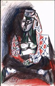 """Pablo Picasso Original Lithograph """"woman In Turkish Garb"""" 1955 Authentic"""
