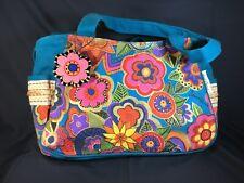 LAUREL BURCH Purse -  Blossoming Flowers Canvas Aqua Blue Handbag Tote