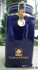 "Crabtree & Evelyn Cobalt Ceramic Canister w/ metal hinged Lid 8 3/4"" tall"