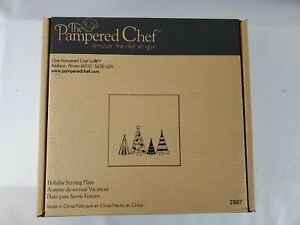 """Pampered Chef 11 1/2"""" Square Christmas Tree Holiday Serving Plate 2807 -NIB F.S."""